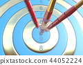 Two three red darts hitting the bullseye aim. concept of success 3d illustration 44052224