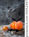 Pumpkin with bats and spiders for Halloween,  44052997