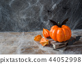 Pumpkin with bats and spiders for Halloween,  44052998