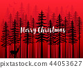 Christmas card with winter forest, vector 44053627