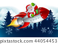 Santa Claus in Rocket Christmas Cartoon 44054453