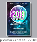 2019 Party Flyer Poster Vector. Happy New Year. Night Club Celebration. Musical Concert Banner 44055189
