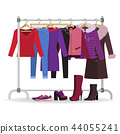Clothes hanger with casual woman clothes, footwear 44055241