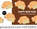 野猪可爱新年贺卡2019年 44058892