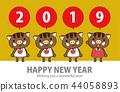 野猪可爱新年贺卡2019年 44058893