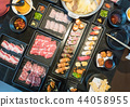Close up set of japanese food shabu shabu sushi 44058955