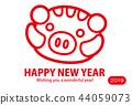 新年贺卡 贺年片 野猪 44059073