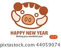 新年贺卡 贺年片 野猪 44059074