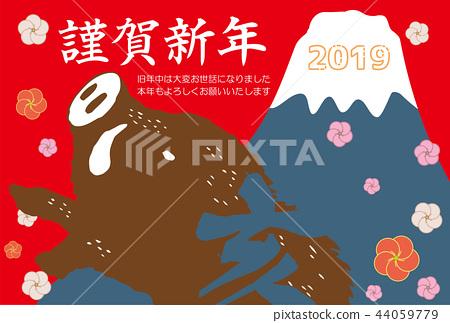 新年贺卡 贺年片 富士山 44059779