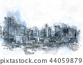 Building in the city on watercolor painting. 44059879