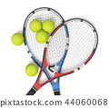 3d rendering of two tennis racquets of different colors with balls over them. 44060068