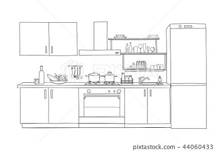 Kitchen room Interior. Blueprint furniture design 44060433