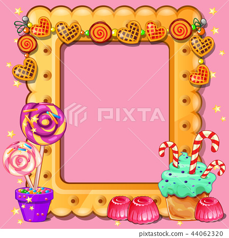 Beautiful cute greeting card with frame and space for your text, picture or photo in the style of a 44062320