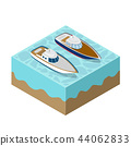 Isometric yacht of a sea cruise 44062833