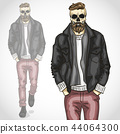 Vector man with skull and beard and moustaches 44064300