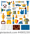 Vector soccer kit with training, fan and playing 44065230