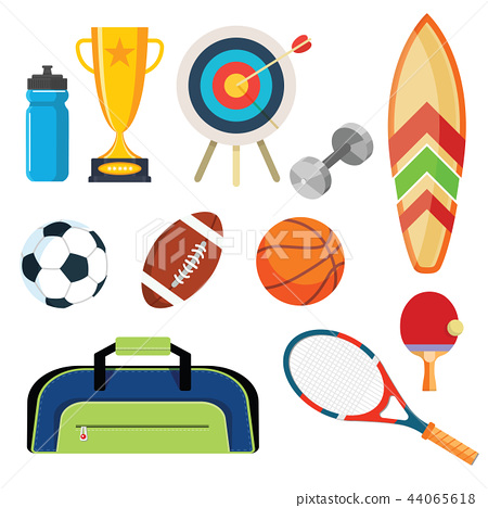 Flat design sport concept. Sports equipment  44065618