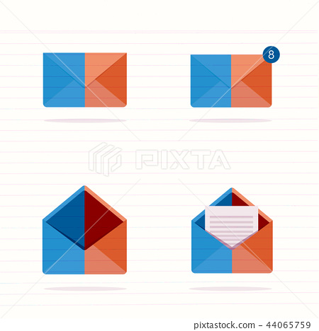 set of closed and open envelopes.  44065759