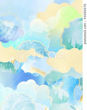일본 - 배경 - 종이 - 여름 - 단풍 - 블루 44066876