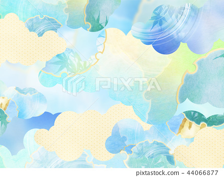 일본 - 배경 - 종이 - 여름 - 단풍 - 블루 44066877