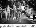 Child, Jumping, Schoolbag 44068585