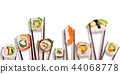 Traditional japanese sushi pieces placed between chopsticks, separated on white background. 44068778