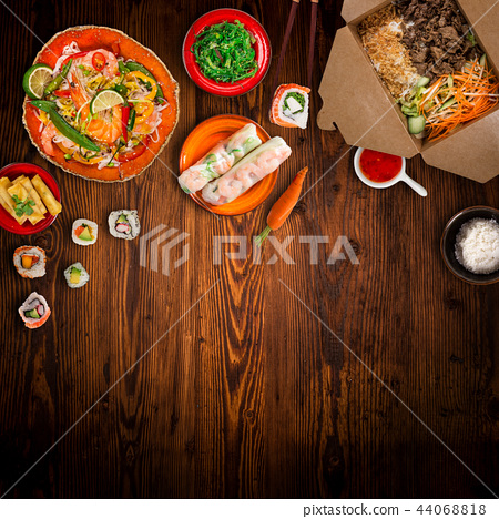 Various of asian meals on rustic background , top view , place for text. 44068818