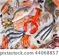 Fresh tasty seafood served on old wooden table. 44068857