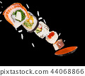 Pieces of delicious japanese sushi frozen in the air. 44068866