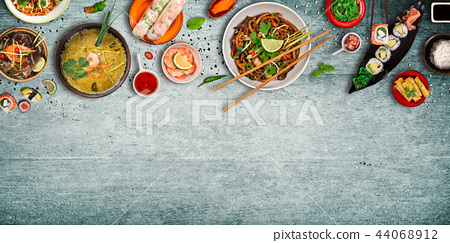Various of asian meals on rustic background , top view , place for text. 44068912