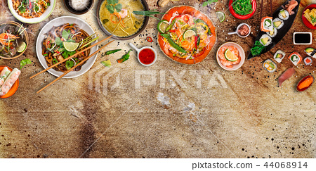 Various of asian meals on rustic background , top view , place for text. 44068914