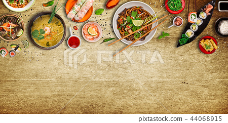 Various of asian meals on rustic background , top view , place for text. 44068915