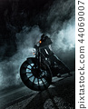 High power motorcycle chopper at night. 44069007
