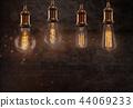 Vintage light bulbs on dark background. 44069233