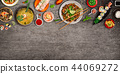 Various of asian meals on rustic background , top view , place for text. 44069272