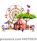 an awasome circus with so many clown around it 44070934