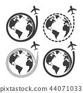 Travel set icons with airplane fly around the eart 44071033