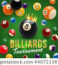 Billiard balls and crown. tournament. 3D vector 44072136