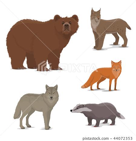 Wild forest animals fox, badger, lynx, bear icons - Stock ...