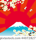 Plum and Mt. Fuji background 44072827