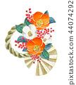 新年的一天裝飾,玫瑰,石雕,水彩插圖 44074292