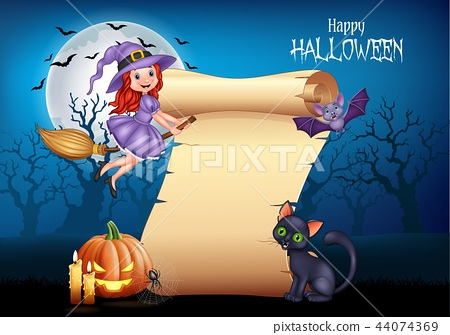 Cartoon little witch flying on a broomstick with h 44074369