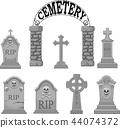 Cartoon gravestones collection set 44074372