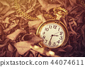 Time concept.Vintage golden pocket watch on leaves 44074611