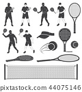 Set of tennis and paddle tennis equipment silhouettes. Vector illustration. 44075146