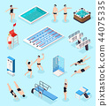 Swimming Pool Isometric Set 44075335