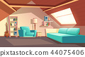 Vector cartoon empty garret room, attic interior 44075406