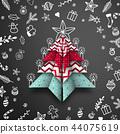 Abstract origami Christmas tree on black 44075619