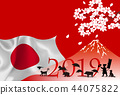 日本新年的卡片背景 44075822