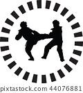 taekwondo, silhouette, kick 44076881